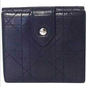 Dior black cannage stitch leather snap wallet